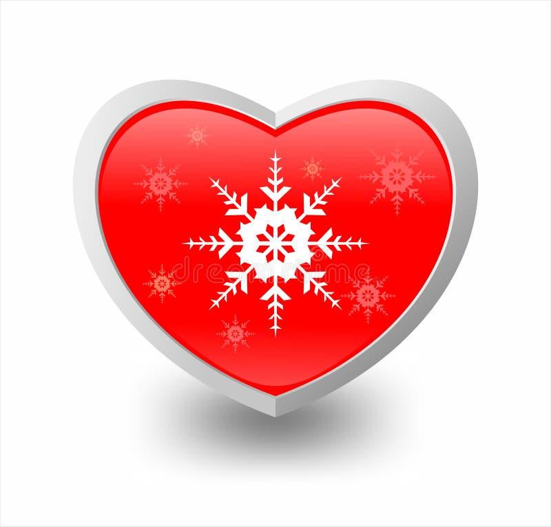 Ilustración del corazón y del copo de nieve fotos de archivo