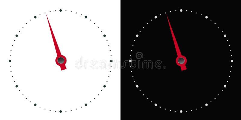 Ilustración del dial circular blanco y negro del instrumento de medida con la mano roja en forma de flecha, vectorial ilustración del vector