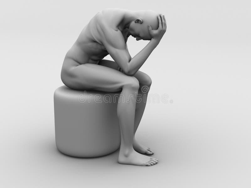 Ilustración del dolor de cabeza/de la jaqueca stock de ilustración