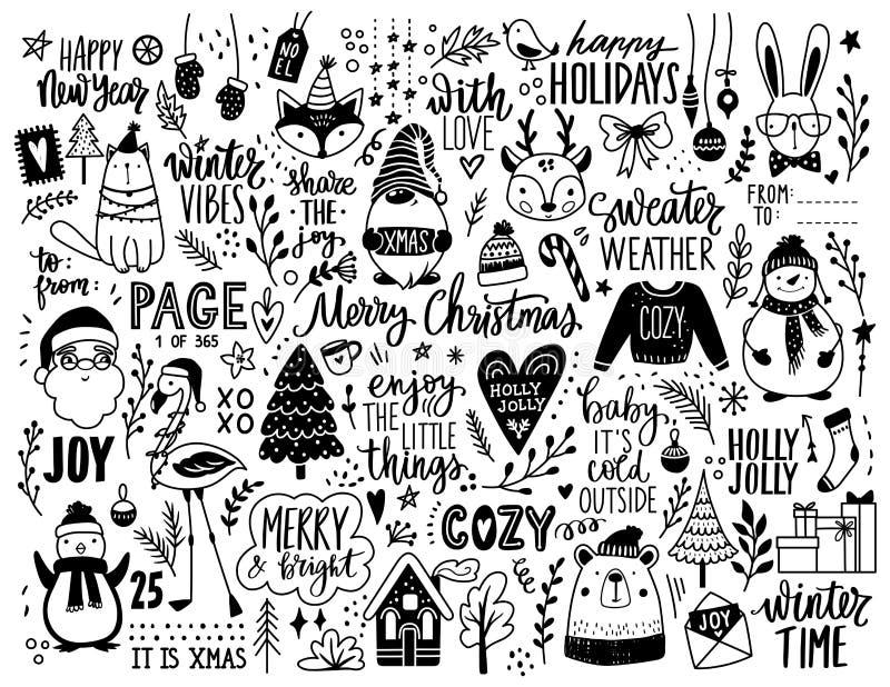 Ilustración Del Doodle Dibujado A Mano De Navidad Navidad Feliz Año Nuevo Puesto En Forma De Esbozo Animales Santa Claus Ilustración Del Vector Ilustración De Mittens Fondo 202912399