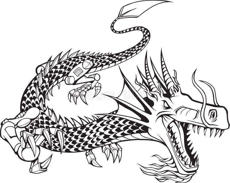 Ilustración del dragón del Cyborg ilustración del vector