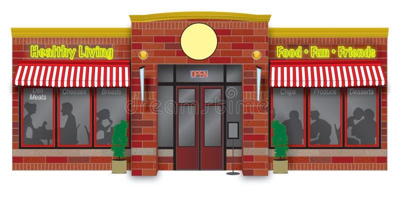 Ilustración del escaparate de la tienda de delicatessen stock de ilustración