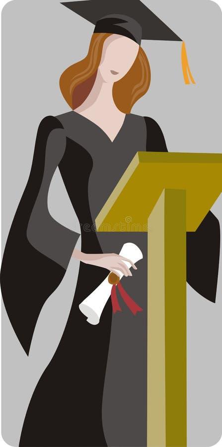 Ilustración del estudiante graduado stock de ilustración