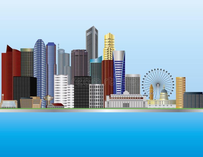 Ilustración del horizonte de la ciudad de Singapur stock de ilustración
