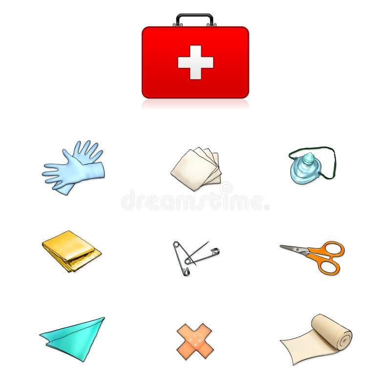 Ilustración del kit de primeros auxilios ilustración del vector
