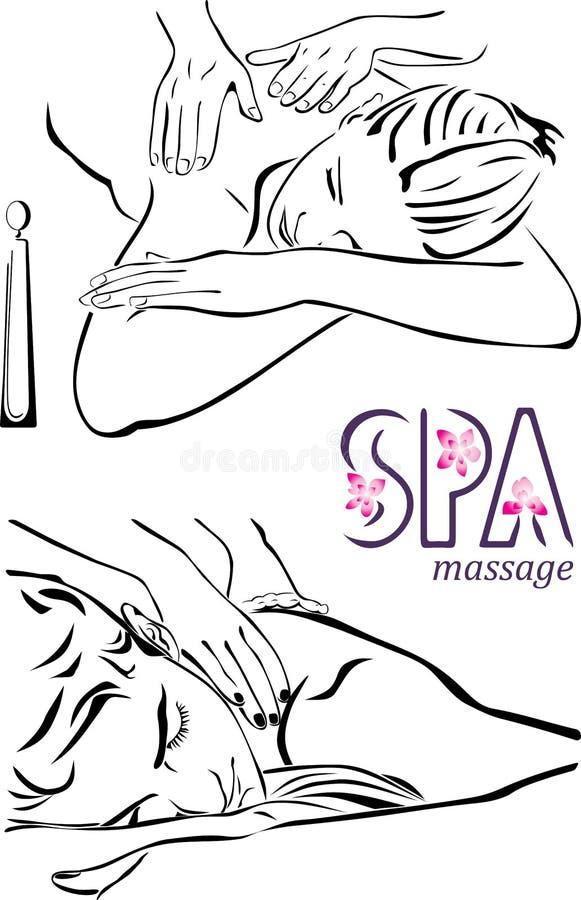 Ilustración del masaje del balneario ilustración del vector