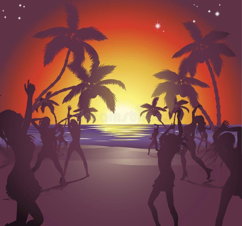 Ilustración del partido de la playa de la puesta del sol stock de ilustración