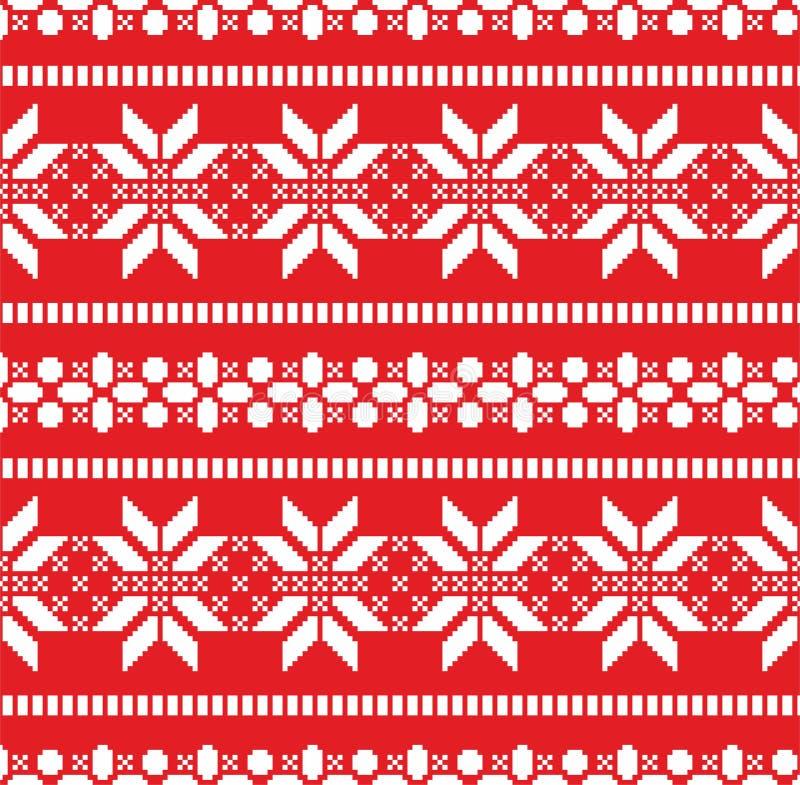 Ilustración del patrón navideño con copos de nieve blancos sobre fondo rojo Nuevo año de impresión transparente para papel o tela stock de ilustración