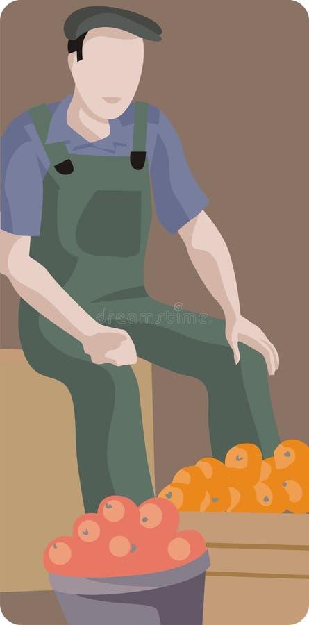 Ilustración del recogedor de la fruta ilustración del vector