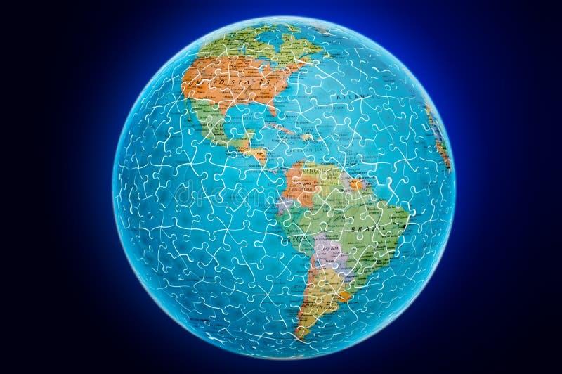 Ilustración del rompecabezas del globo de la tierra de América stock de ilustración
