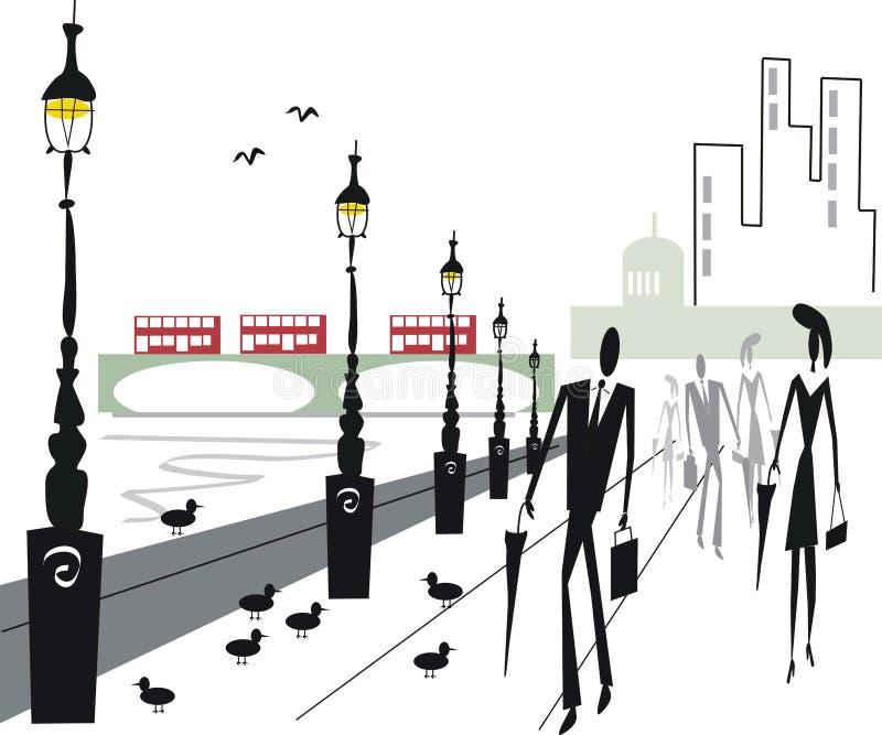 Ilustración del terraplén de Londres stock de ilustración