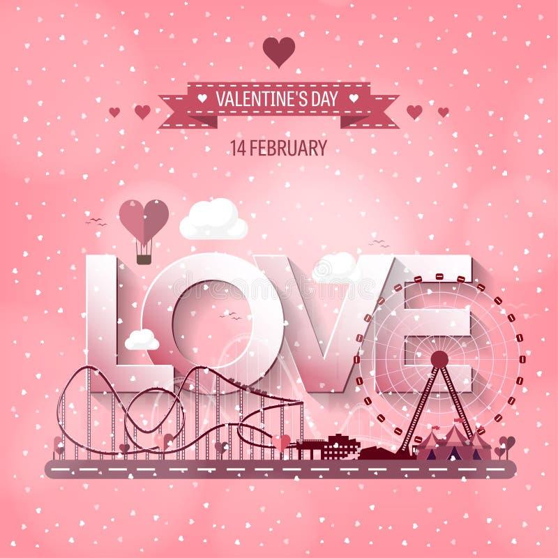Ilustración del vector Amor del día de tarjeta del día de San Valentín 14 de febrero Parque con la noria Montaña rusa en Viena Pr ilustración del vector
