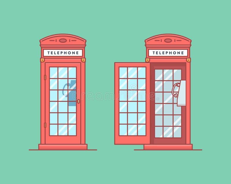 Ilustración del vector Caja de llamada pública del teléfono rojo stock de ilustración