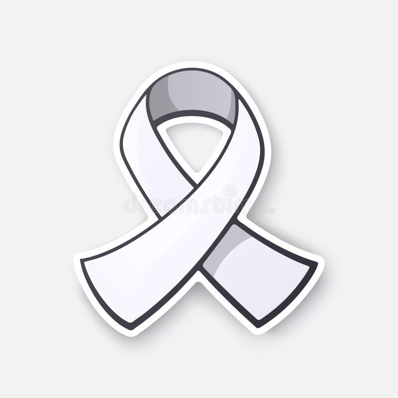 Ilustración del vector Cinta blanca, símbolo internacional de la conciencia sobre cáncer de pulmón, violencia masculina del final ilustración del vector
