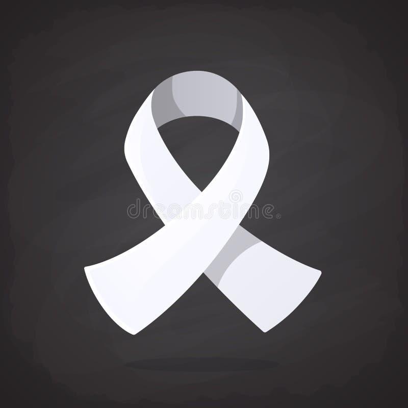 Ilustración del vector Cinta blanca, símbolo internacional de la conciencia sobre cáncer de pulmón, violencia masculina del final libre illustration