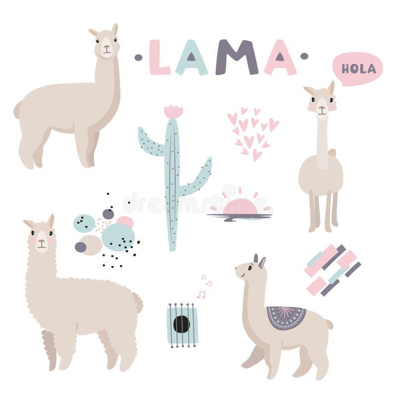 Ilustración del vector Colección del lama con los objetos lindos, corazones, modelos abstractos ilustración del vector