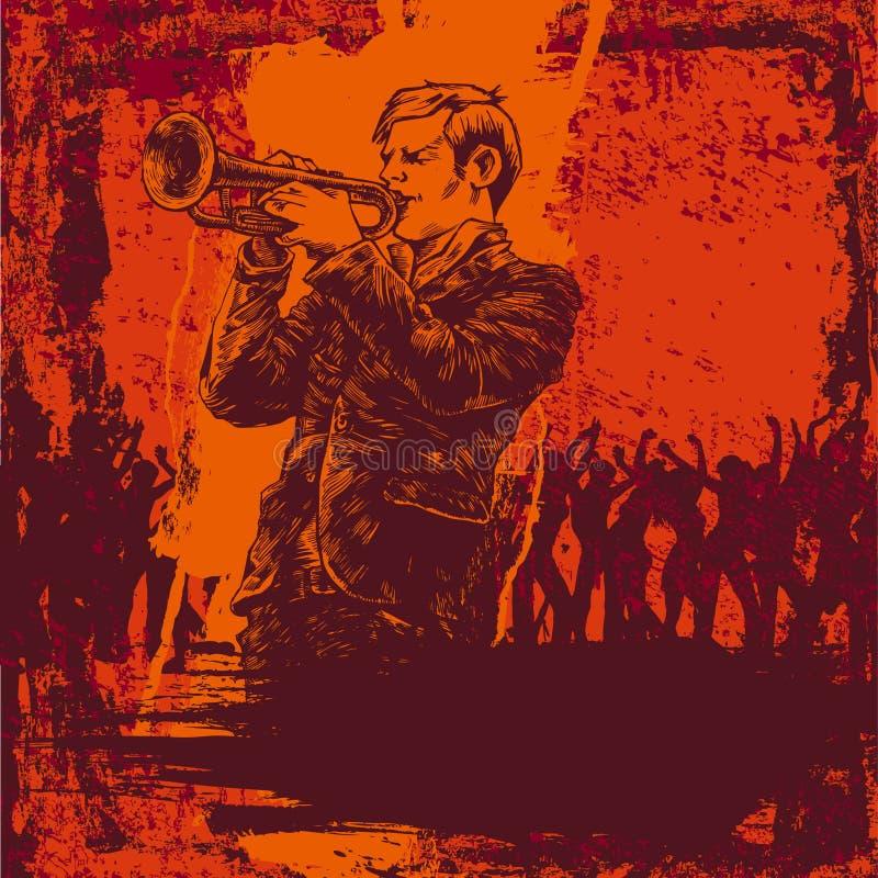 Ilustración del vector con el trompetista del jazz stock de ilustración