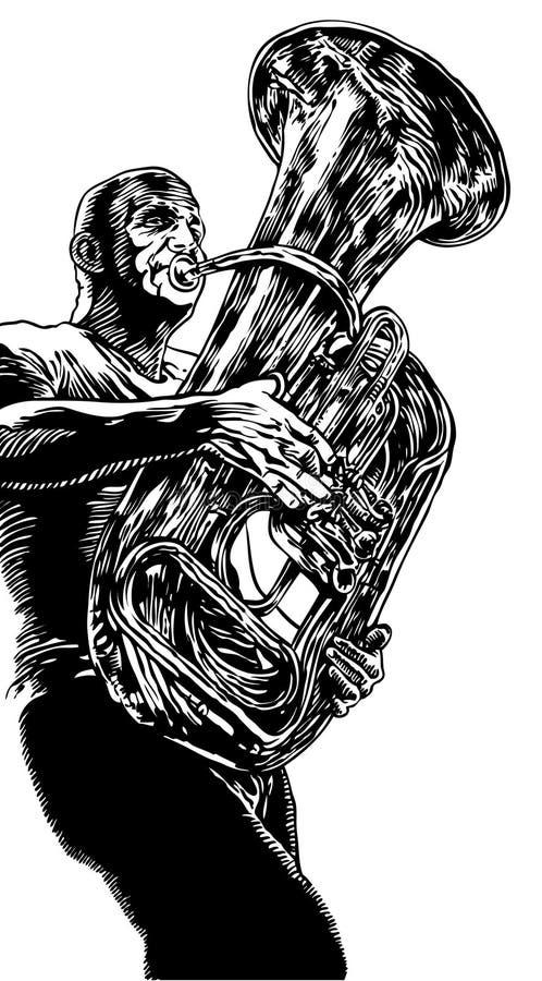 Ilustración del vector con la trompeta stock de ilustración
