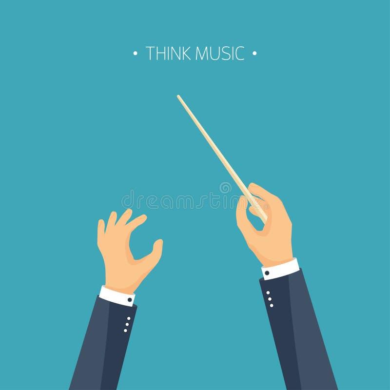 Ilustración del vector Conductor de orquesta plano del fondo Música y manos ilustración del vector