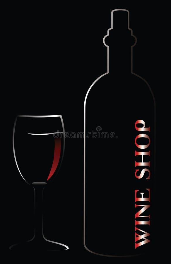 Ilustración del vector de la botella y del vidrio libre illustration