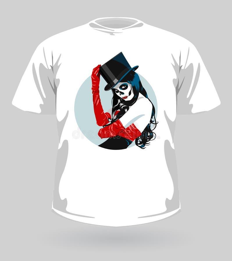 Ilustración del vector de la camiseta con el cráneo del azúcar ilustración del vector