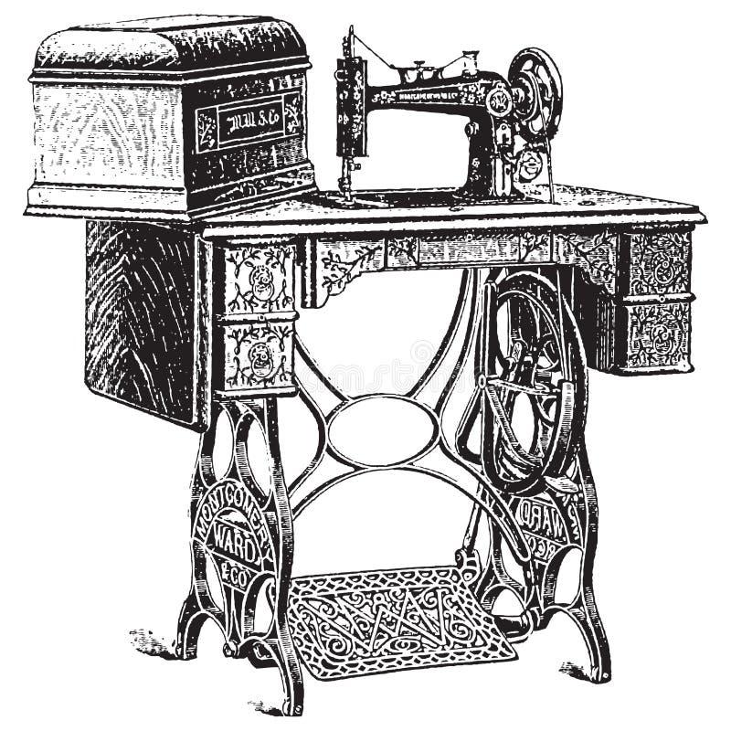 Ilustración del vector de la máquina de coser antigua ilustración del vector
