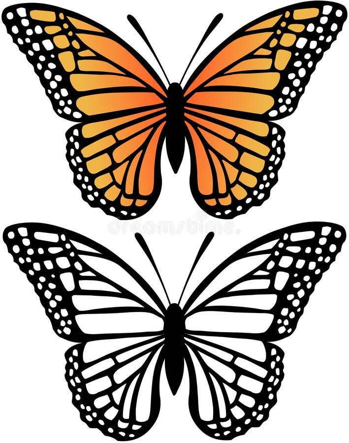 Ilustración del vector de la mariposa de monarca stock de ilustración