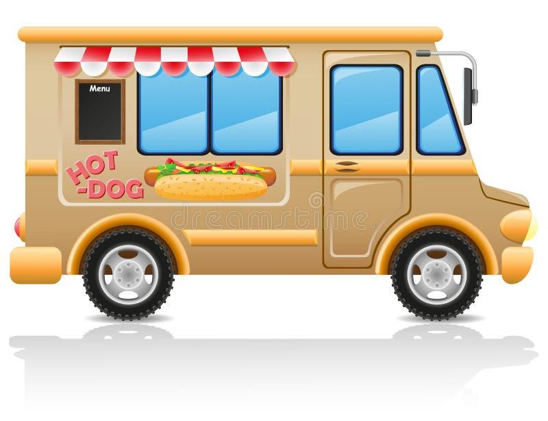 Ilustración del vector de los alimentos de preparación rápida del perrito caliente del coche ilustración del vector