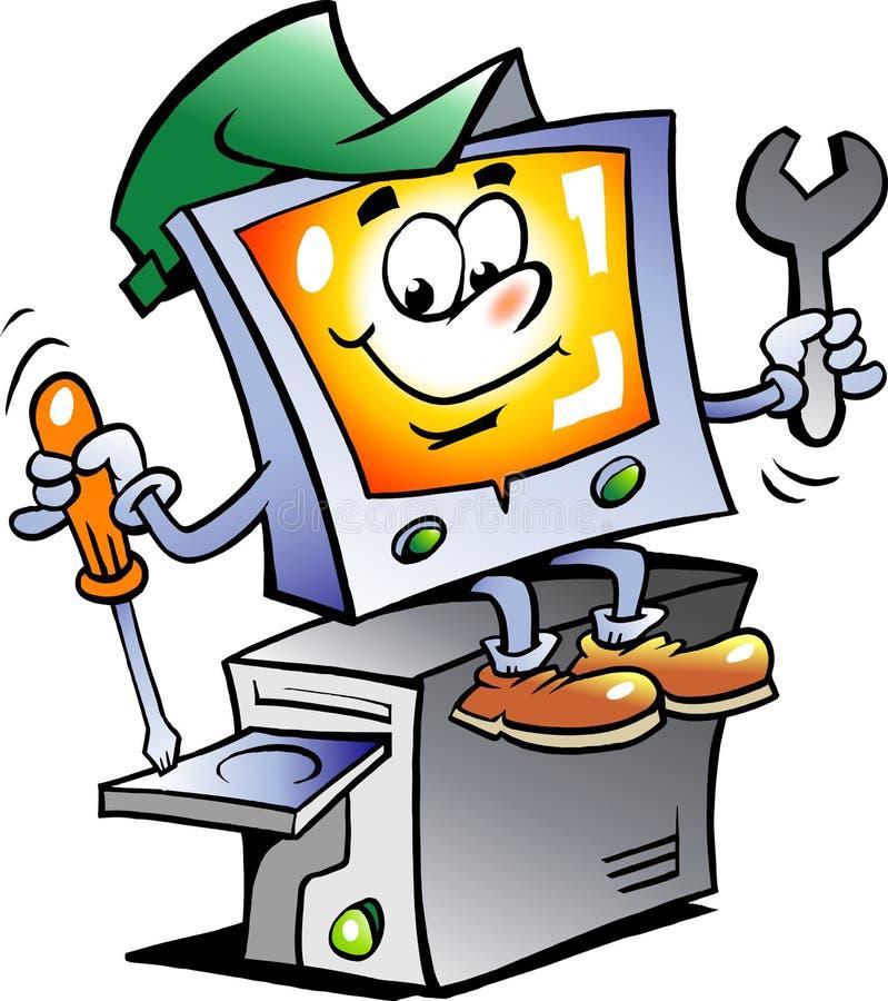 Ilustración del vector de un reparador del ordenador ilustración del vector