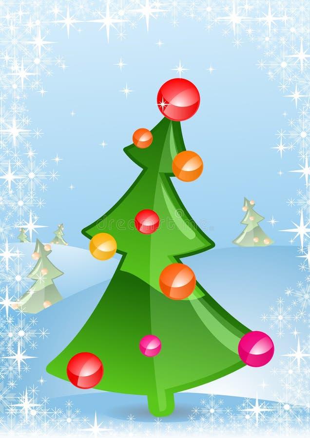 Ilustración del vector de una tarjeta de felicitación de la Navidad stock de ilustración