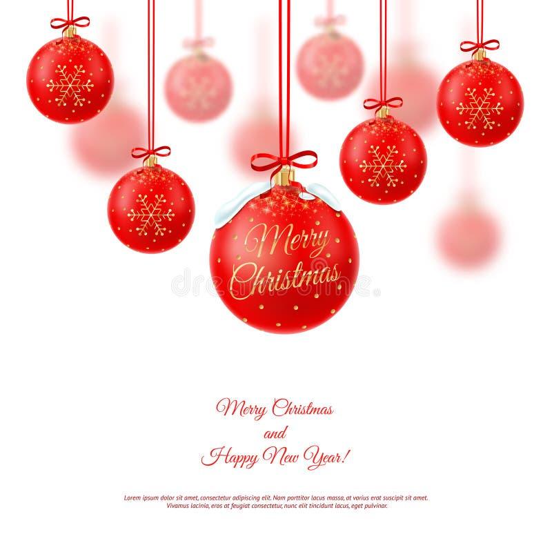 Ilustración del vector Decoraciones realistas de la Navidad en un blanco imagen de archivo libre de regalías