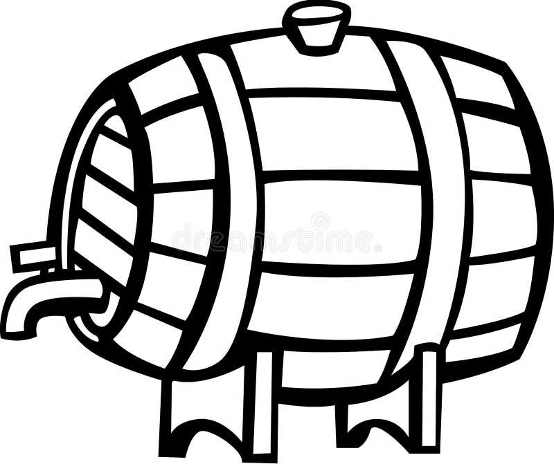 Ilustración del vector del barril de la bebida del vino o del alcohol stock de ilustración