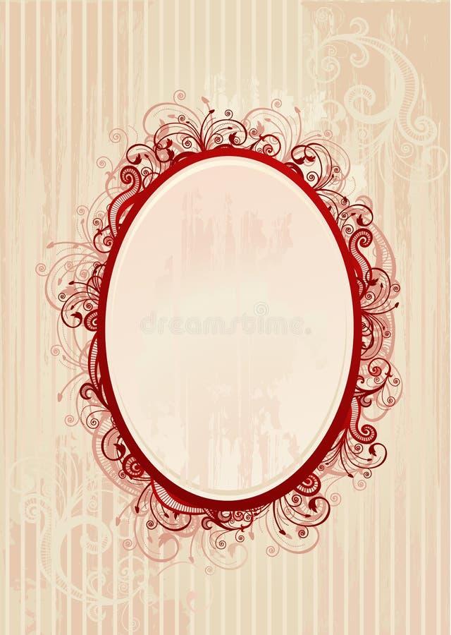 Ilustración del vector del bastidor oval romántico stock de ilustración