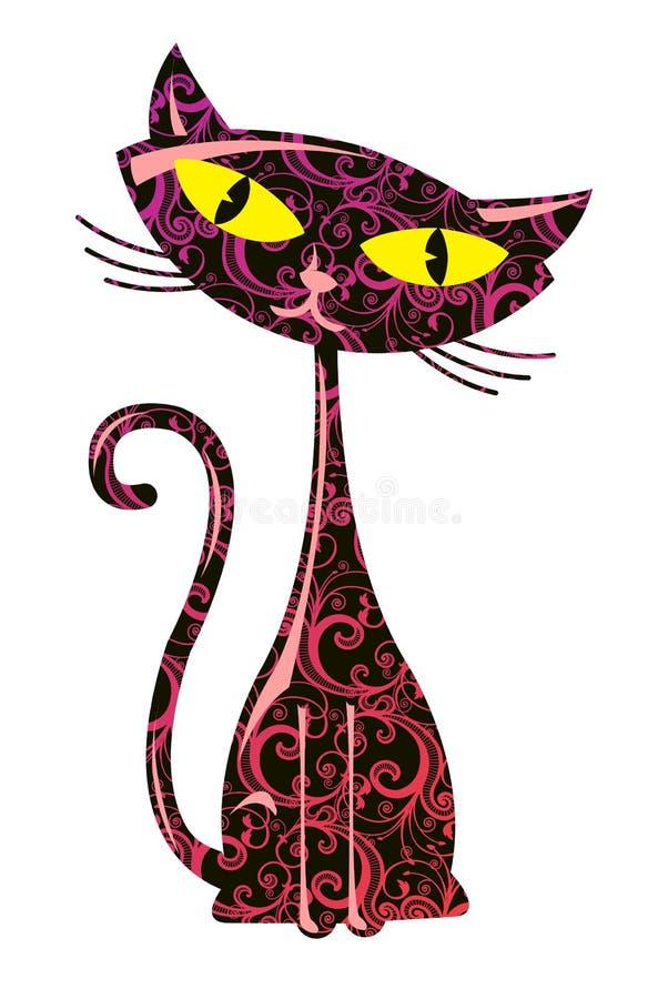 Ilustración del vector del gato floral ilustración del vector