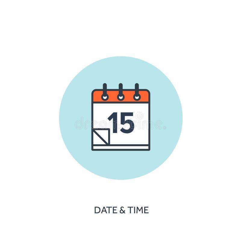 Ilustración del vector El calendario alineó el icono Fecha y hora Planeamiento del día de fiesta ilustración del vector