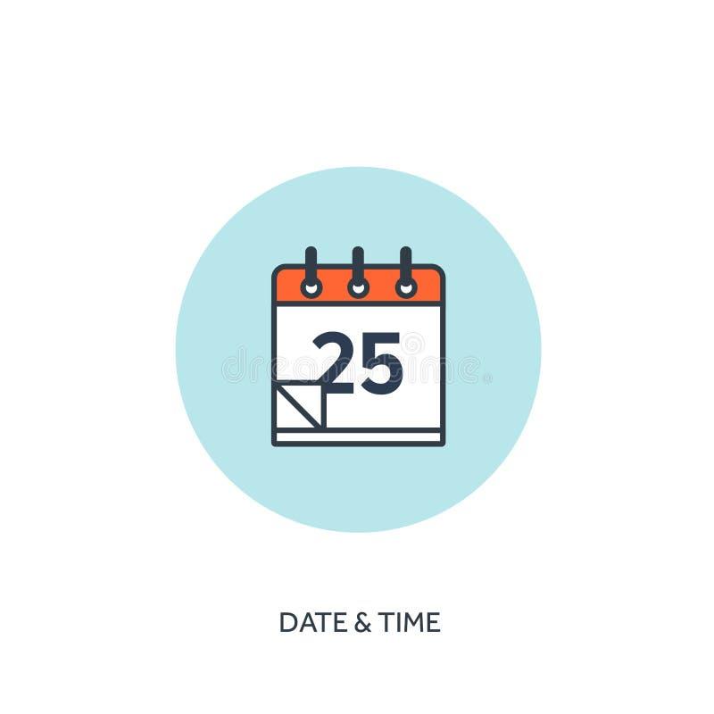 Ilustración del vector El calendario alineó el icono Fecha y hora Planeamiento del día de fiesta stock de ilustración