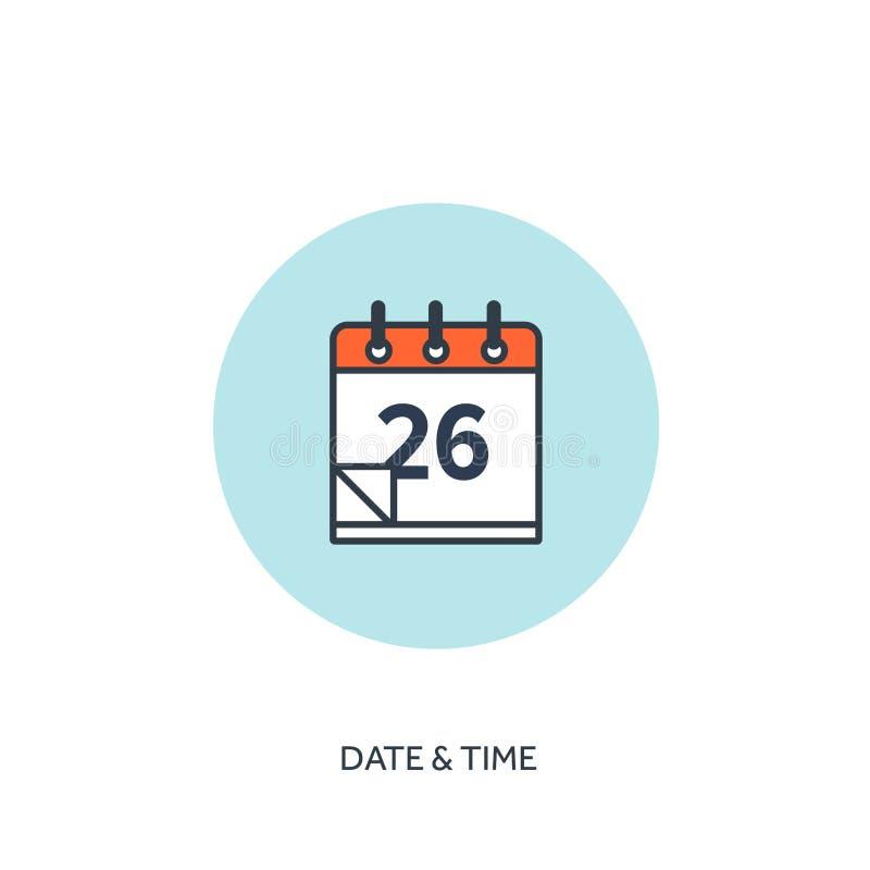 Ilustración del vector El calendario alineó el icono Fecha y hora Planeamiento del día de fiesta libre illustration