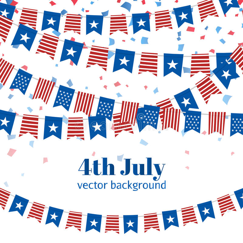 Ilustración del vector El Día de la Independencia americano señala el fondo por medio de una bandera stock de ilustración