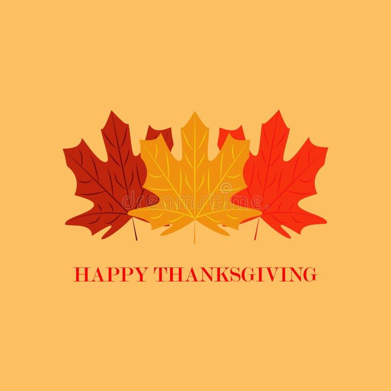 Ilustración del vector El diseño de letras de la acción de gracias con las hojas coloridas aísla en fondo amarillo canadá libre illustration
