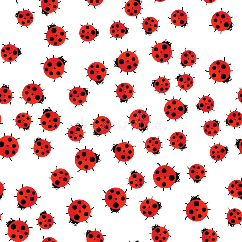 Ilustración del vector El modelo inconsútil Mariquita roja stock de ilustración