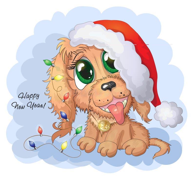 Ilustración del vector El perro de perrito lindo del vector de la historieta con Año Nuevo se enciende stock de ilustración