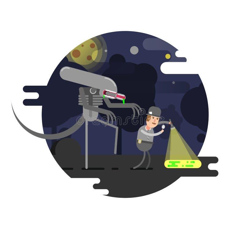 Ilustración del vector Extranjero con el detective retro ilustración del vector