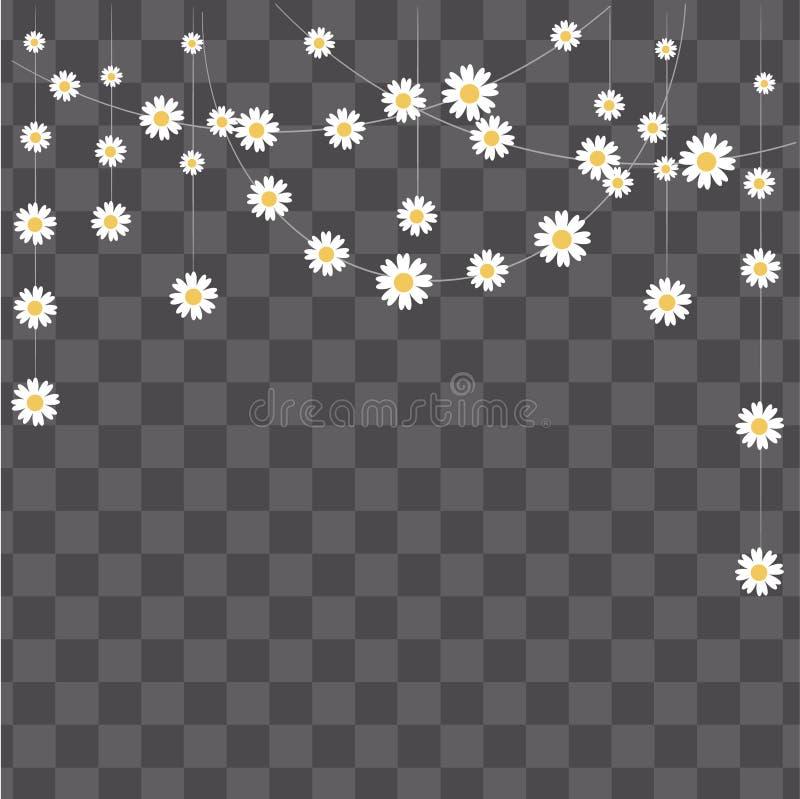 Ilustración del vector Fácil corregir a su diseño Guirnalda hecha de manzanilla en fondo transparente Elementos decorativos para  libre illustration