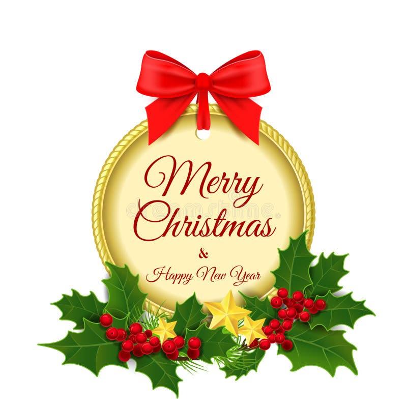 Ilustración del vector Feliz Navidad y un feliz fotografía de archivo libre de regalías