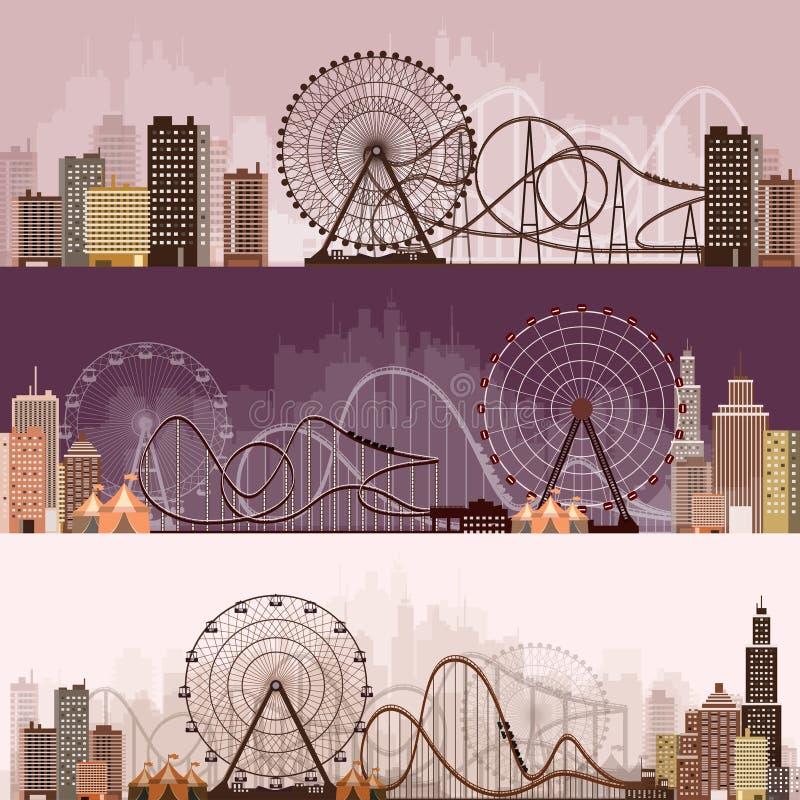 Ilustración del vector Ferris Wheel Carnaval Fondo del Funfair Parque del circo Montaña rusa en Viena Prate ilustración del vector