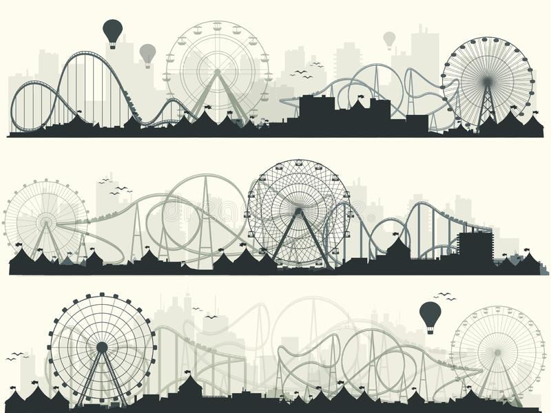 Ilustración del vector Ferris Wheel Carnaval Fondo del Funfair Parque del circo Montaña rusa en Viena Prate stock de ilustración