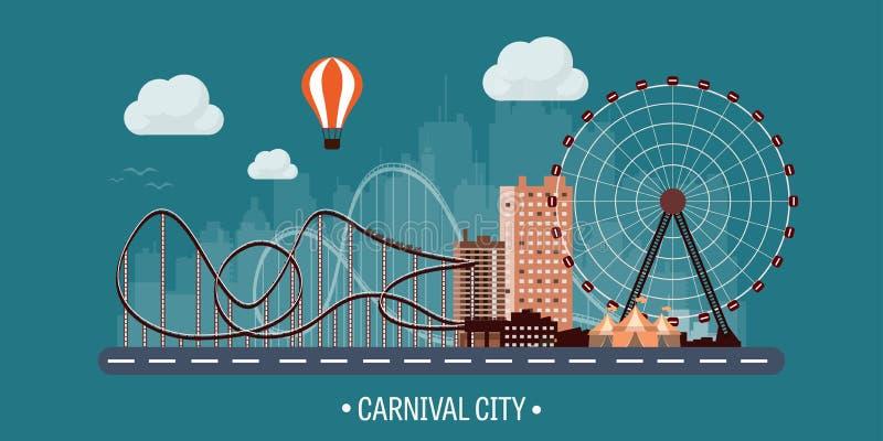 Ilustración del vector Ferris Wheel Carnaval Fondo del Funfair Parque del circo Rascacielos con la costa del rodillo ilustración del vector