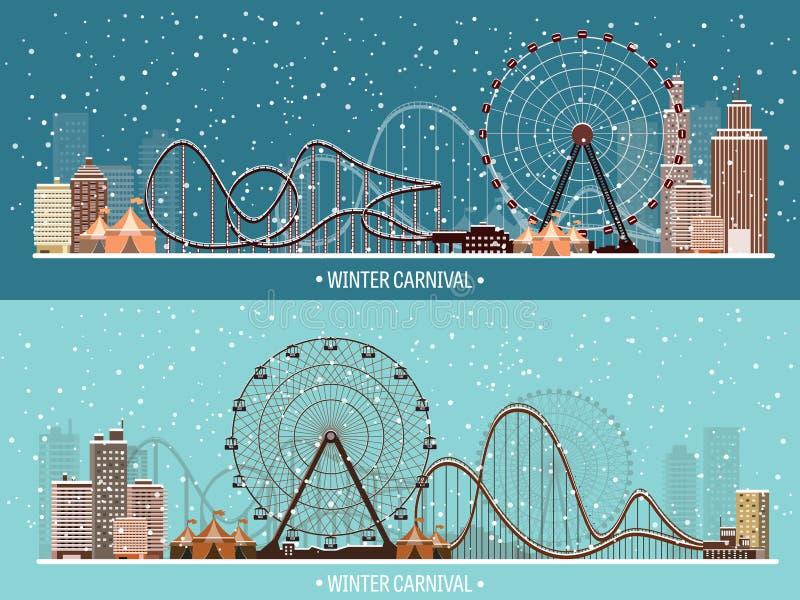 Ilustración del vector Ferris Wheel Carnaval del invierno Año Nuevo de la Navidad Parque con nieve libre illustration