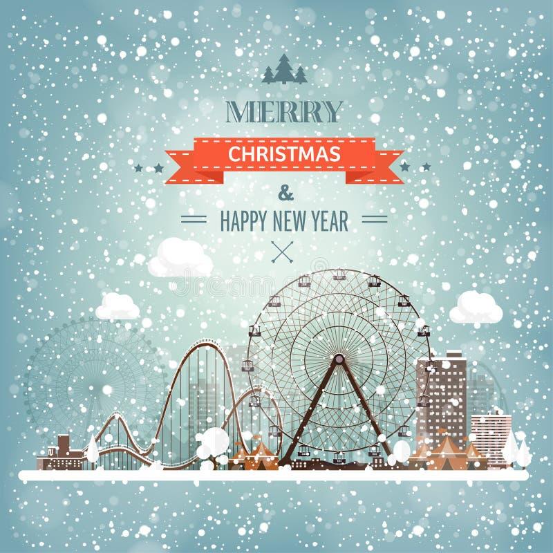 Ilustración del vector Ferris Wheel Carnaval del invierno Año Nuevo de la Navidad Parque con nieve ilustración del vector