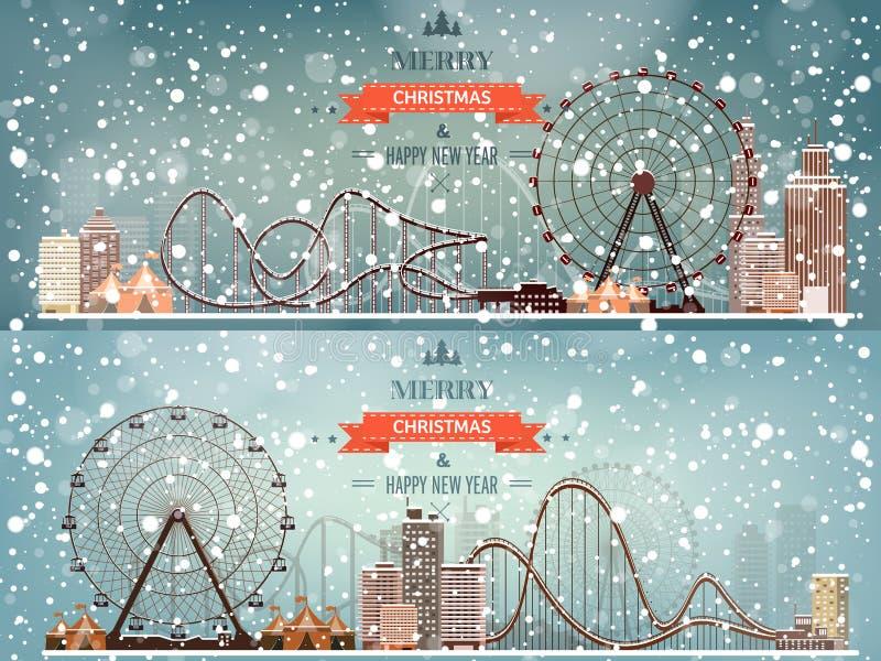 Ilustración del vector Ferris Wheel Carnaval del invierno Año Nuevo de la Navidad Parque con nieve stock de ilustración